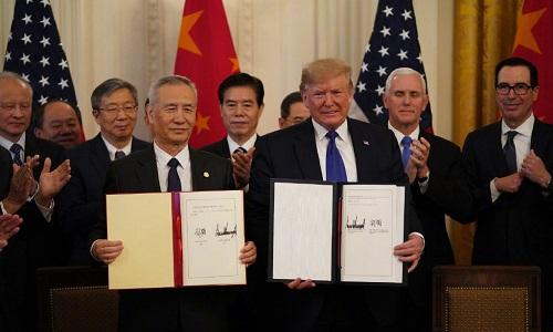 پہلے مرحلے کے چین - امریکہ اقتصادی و تجارتی معاہدے پر دستخط